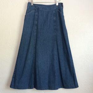 Pendleton Cotton denim skirt medium wash midi